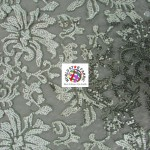 Floral Fashion Dress Gowns Sequins Lace Fabric Gray