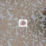 Floral Fashion Dress Gowns Sequins Lace Fabric Khaki