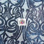 Angel Damask Sequins Sheer Lace Fabric Navy Blue