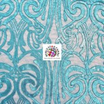 Angel Damask Sequins Sheer Lace Fabric Turquoise