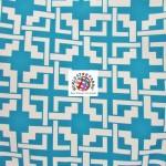 Maze Puzzle Style Waterproof Outdoor Fabric Aqua