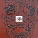 Day of the Dead Skulls Vinyl Halloween Fabric Bloody Red