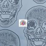 Day of the Dead Skulls Vinyl Halloween Fabric Liquid Silver