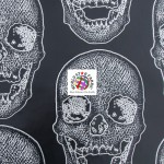 Day of the Dead Skulls Vinyl Halloween Fabric Pitch Black