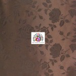 Floral Roses Jacquard Satin Fabric Brown