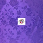 Floral Roses Jacquard Satin Fabric Purple