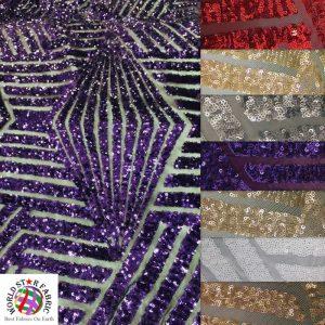 Cosmic Geometric Sequin Fabric