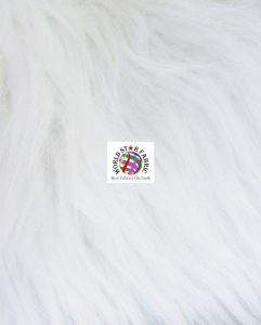 Grizzly Shaggy Fur Fabric White