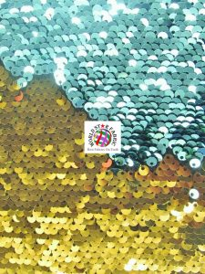 Mermaid Pearl Sequins Spandex Fabric Aqua/Gold