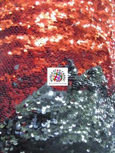 Mermaid Pearl Sequins Spandex Fabric Black/Red
