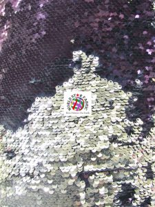Mermaid Pearl Sequins Spandex Fabric Midnight Purple/Silver