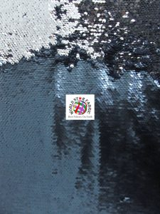 Mermaid Pearl Sequins Spandex Fabric Navy/Silver