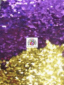 Mermaid Pearl Sequins Spandex Fabric Purple/Gold