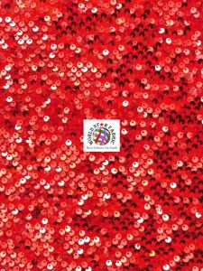 Shiny Rain Drop Sequin Velvet Fabric Red