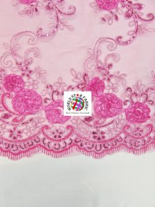 Stunning Floral Sequins Fabric Edges
