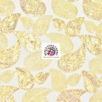 Paisley Sequins Scalloped Edge Lace Fabric Gold