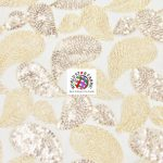 Paisley Sequins Scalloped Edge Lace Fabric Rose