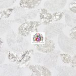 Paisley Sequins Scalloped Edge Lace Fabric Silver