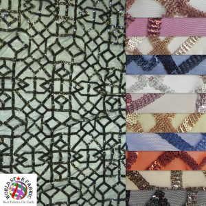 Geometric Dubai Sequins Mesh Fabric