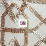 Geometric Dubai Sequins Mesh Fabric Champagne