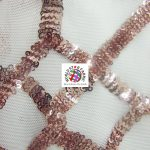 Geometric Dubai Sequins Mesh Fabric Peach