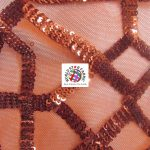 Geometric Dubai Sequins Mesh Fabric Red