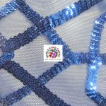 Geometric Dubai Sequins Mesh Fabric Royal Blue