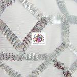 Geometric Dubai Sequins Mesh Fabric Silver