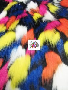 Tribal Multi Color Faux Fur Fabric Black