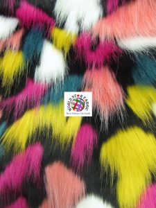 Tribal Multi Color Faux Fur Fabric Black Mix