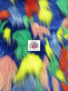 Tribal Multi Color Faux Fur Fabric Blue