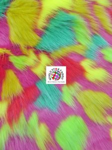 Tribal Multi Color Faux Fur Fabric Pink