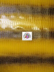 Big Nile Crocodile Vinyl Fabric Glossy Gold/Black