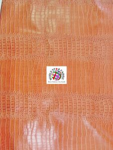 Big Nile Crocodile Vinyl Fabric Orange