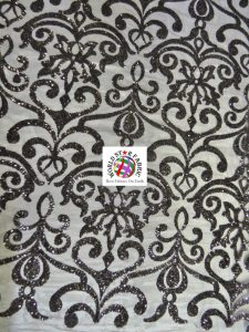 Unique Vintage Damask Sequins Fabric Black