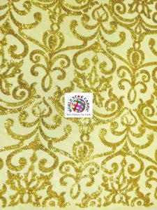 Unique Vintage Damask Sequins Fabric Gold