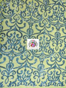Unique Vintage Damask Sequins Fabric Sapphire
