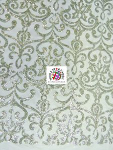 Unique Vintage Damask Sequins Fabric Silver
