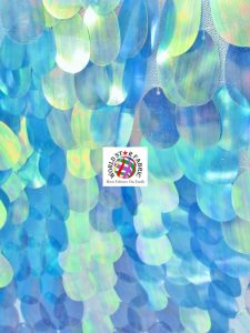 Jumbo Teardrop Iridescent Sequins Fabric Blue