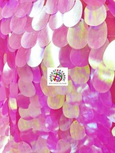Jumbo Teardrop Iridescent Sequins Fabric Fuchsia