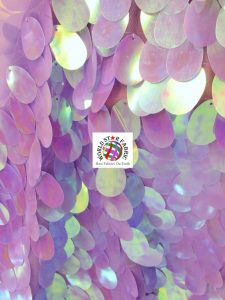 Jumbo Teardrop Iridescent Sequins Fabric Lilac