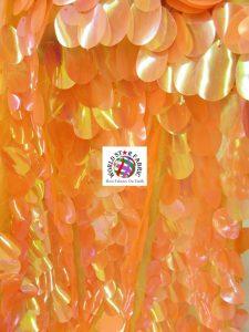 Jumbo Teardrop Iridescent Sequins Fabric Orange