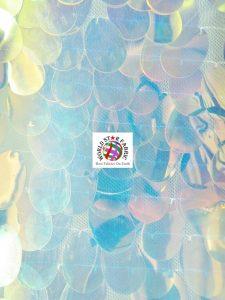 Jumbo Teardrop Iridescent Sequins Fabric Transparent