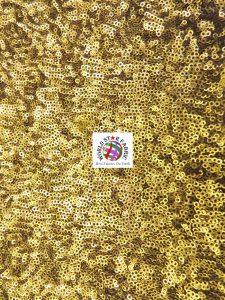 Mini Disc Sequins Mesh Fabric Dark Gold