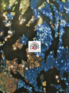 Daydream Reversible Sequins Velvet Fabric Blue