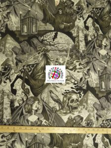 Apocalypse Heart Of Darkness Gray Cotton Fabric By Alexander Henry