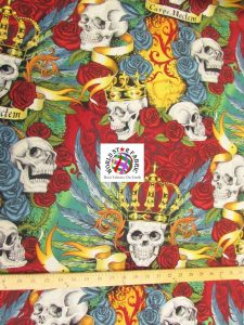 Skullduggery Bright Cotton Fabric By Alexander Henry