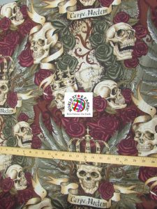 Skullduggery Vintage Cotton Fabric By Alexander Henry