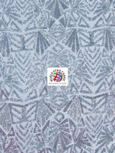 Geometric Mayan Stretch Sequins Fabric Silver