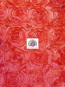 Rosette Style Taffeta Fabric Coral